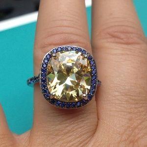 Vintage sterling sapphire & citrine engagement